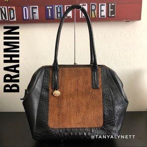 Brahmin black leather fur purse